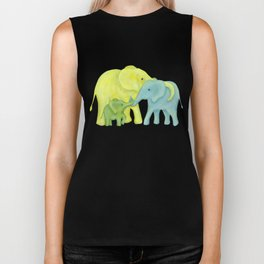 Elephant Family of Three in Yellow, Blue and Green Biker Tank