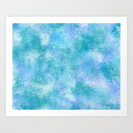 Blue and Green Scratchy Abstract Art Print