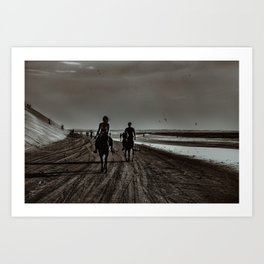 Young Couple Riding Horses at the Beach Art Print