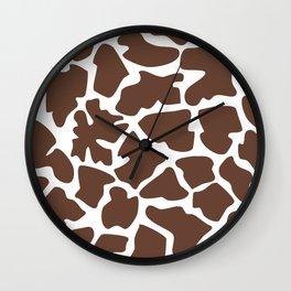 Animal Print (Giraffe Pattern) - Brown White Wall Clock