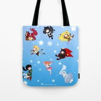 rwby Tote Bags featuring Chibi RWBY  by tofudelight