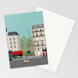 Paris Street Scene Art Print - Daytime Stationery Cards