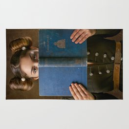 Girl Smiling Behind a Book Rug