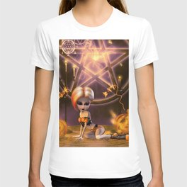 Cute little girl in the night with pumpkin T-shirt
