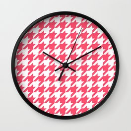 Pink Houndstooth Wall Clock