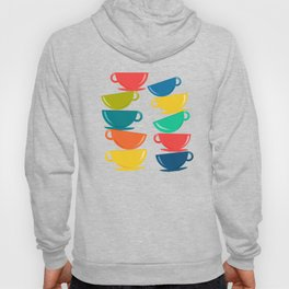 A Teetering Tower Of Colorful Tea Cups Hoody