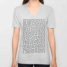 Maze Pattern Line Art in Black and White Unisex V-Neck