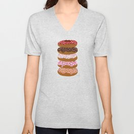 Stacked Donuts on Yellow Unisex V-Neck