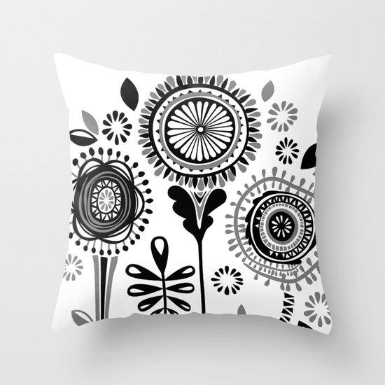 Folksy Flowerheads Throw Pillow