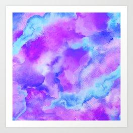 Water Map Blue Purple Art Print
