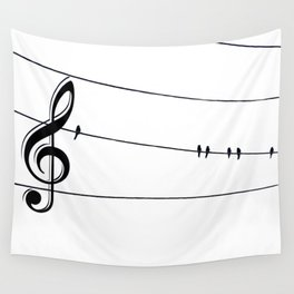 Natures Choir Birds on Wire Music Note A611W Wall Tapestry