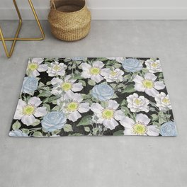 Vintage Rose Pattern Blue On Chalkboard Rug