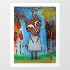 Deer Girl Art Print