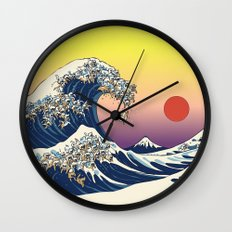 The Great Wave Of  Cat Wall Clock