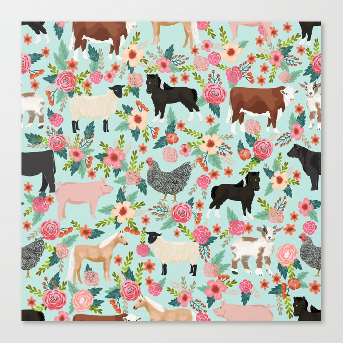 Farm animal sanctuary pig chicken cows horses sheep floral pattern gifts Leinwanddruck