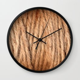 Brown Yarn Threads Wall Clock