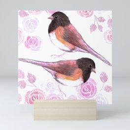 Juncos and roses watercolor painting Mini Art Print