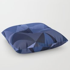 Abstract of triangles polygon in navy blue colors Floor Pillow