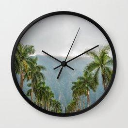 Hawaii Palm Tree Road In Fog Wall Clock