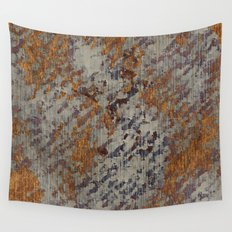 Graphic Grunge Orange and Grey Plaster Abstract Wall Tapestry