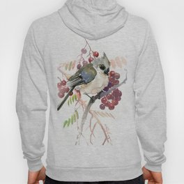 Cute Little Bird and Berries, Tufted Titmouse Hoody