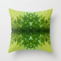 leaf Throw Pillows featuring Leaf by Cs025