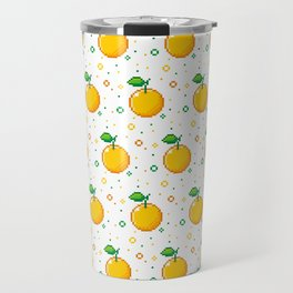 Pixel Oranges - White Travel Mug