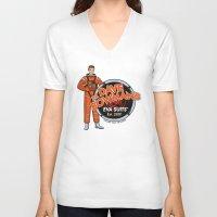 suits V-neck T-shirts featuring Dr. Dave Bowman's EVA Suits by Doodle Dojo