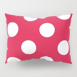 Large Polka Dots - White on Crimson Red Pillow Sham