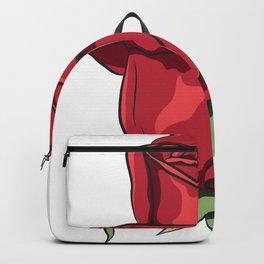 Red Ecuador Rose Flower Backpack