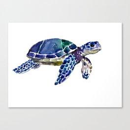 Sea Turtle Illustration blue purple green turtle art Canvas Print