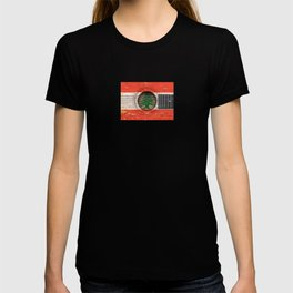 Old Vintage Acoustic Guitar with Lebanese Flag T-shirt