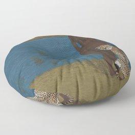 Woman & Cheetah Floor Pillow