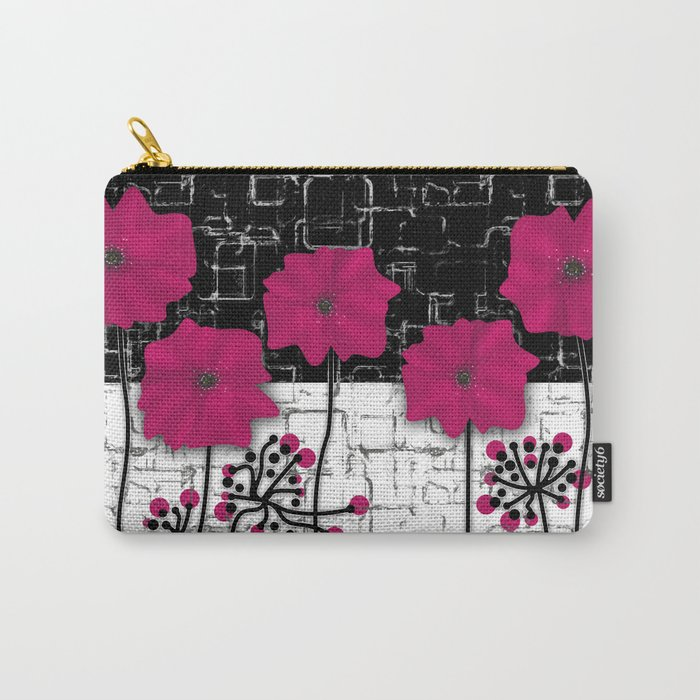 Crimson flowers on black and white background. Carry-All Pouch