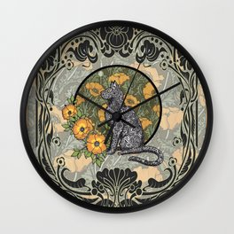Cat Nouveau Wall Clock