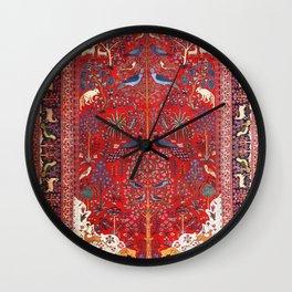 Tree of Life Beautiful Flower Garden Persian Khorassan Rug Print Wall Clock