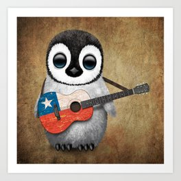 Baby Penguin Playing Chilean Flag Acoustic Guitar Art Print