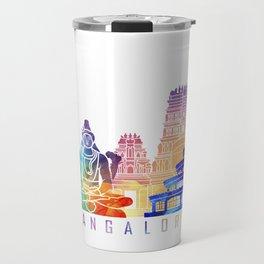 Bangalore skyline landmarks in watercolor Travel Mug