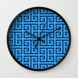 Denim and Bright Blue Greek Key Pattern Wall Clock