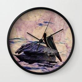 twilight pelican Wall Clock
