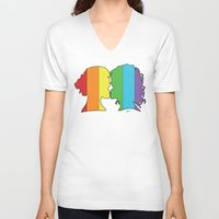 lesbian V-neck T-shirts featuring Lesbian Love  by Winter Graphics
