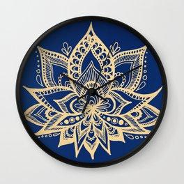 Gold and Blue Lotus Flower Mandala Wall Clock