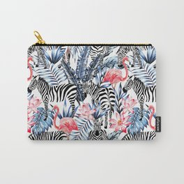 zebra and flamingo pattern Carry-All Pouch