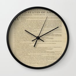 United States Declaration of Independence (Dunlap Broadside Print Copy, 1776) Wall Clock
