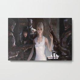 artwork women white dress soldier warrior weapon fantasy digital blonde Final Fantasy XV Lunafreya Nox Fleuret Metal Print