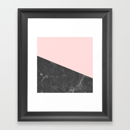 Marble Geometric Blush Pink Gray Black by naturemagick