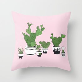 Cactus Love (in pink) Throw Pillow
