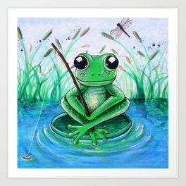Little Fishing Frog Art Print