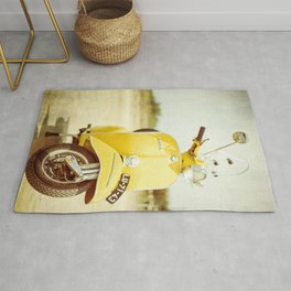 Yellow Scooter #vespaprint #italyphoto #travel #modstyle #yellowmustard Rug