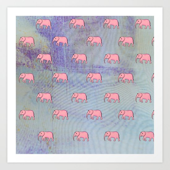 elephants on an abstract background Art Print